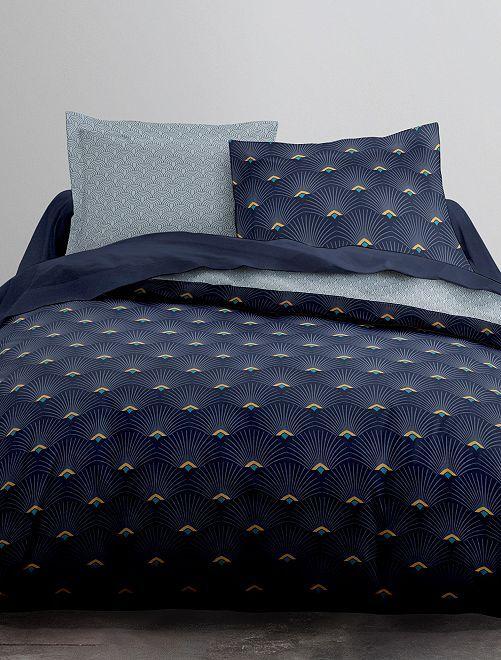 Parure de lit 2 personnes réversible                             bleu marine