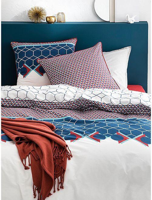 Parure de lit 2 personnes réversible                             bleu/blanc