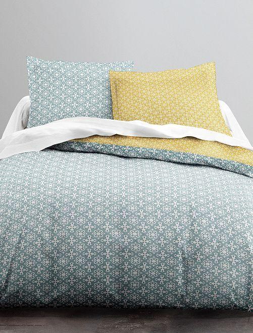 Parure de lit 2 personnes réversible                             bleu/jaune