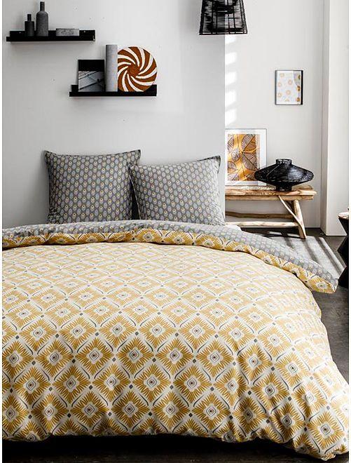 Parure de lit 2 personnes réversible                             jaune