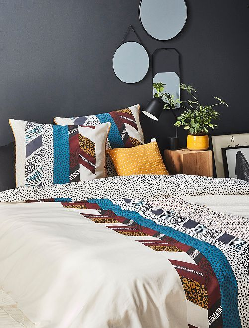 Parure de lit 2 personnes réversible                             multicolore