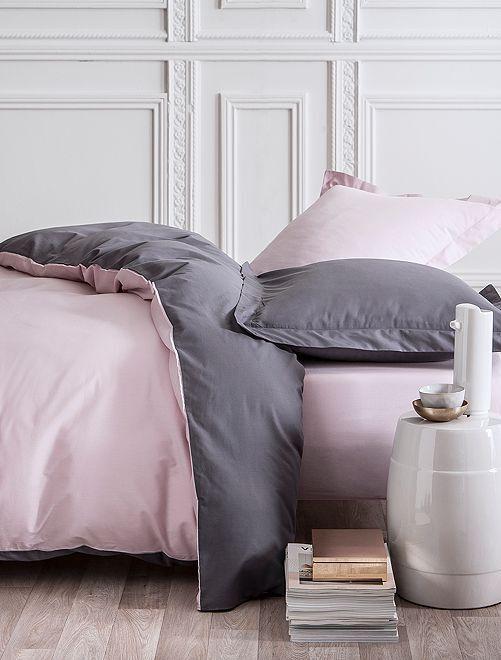 Parure de lit 2 personnes réversible                             rose/gris