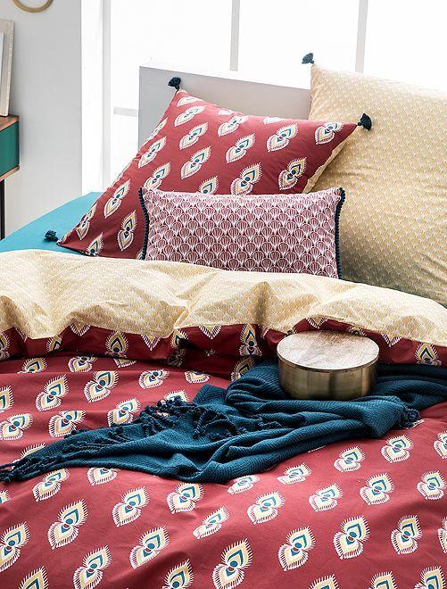 Parure de lit 2 personnes réversible                             rouge / jaune
