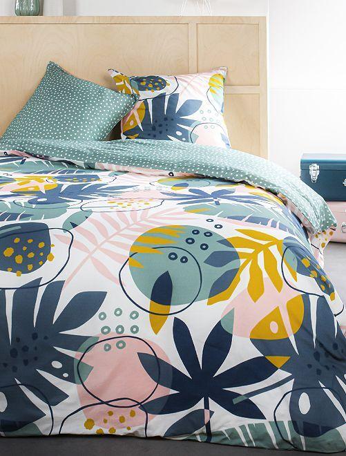 Parure de lit 2 personnes                             rose/bleu