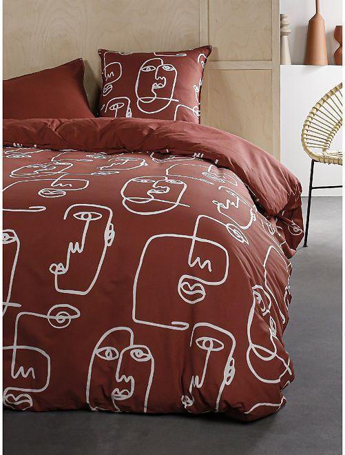Parure de lit 2 personnes                             rouge brique