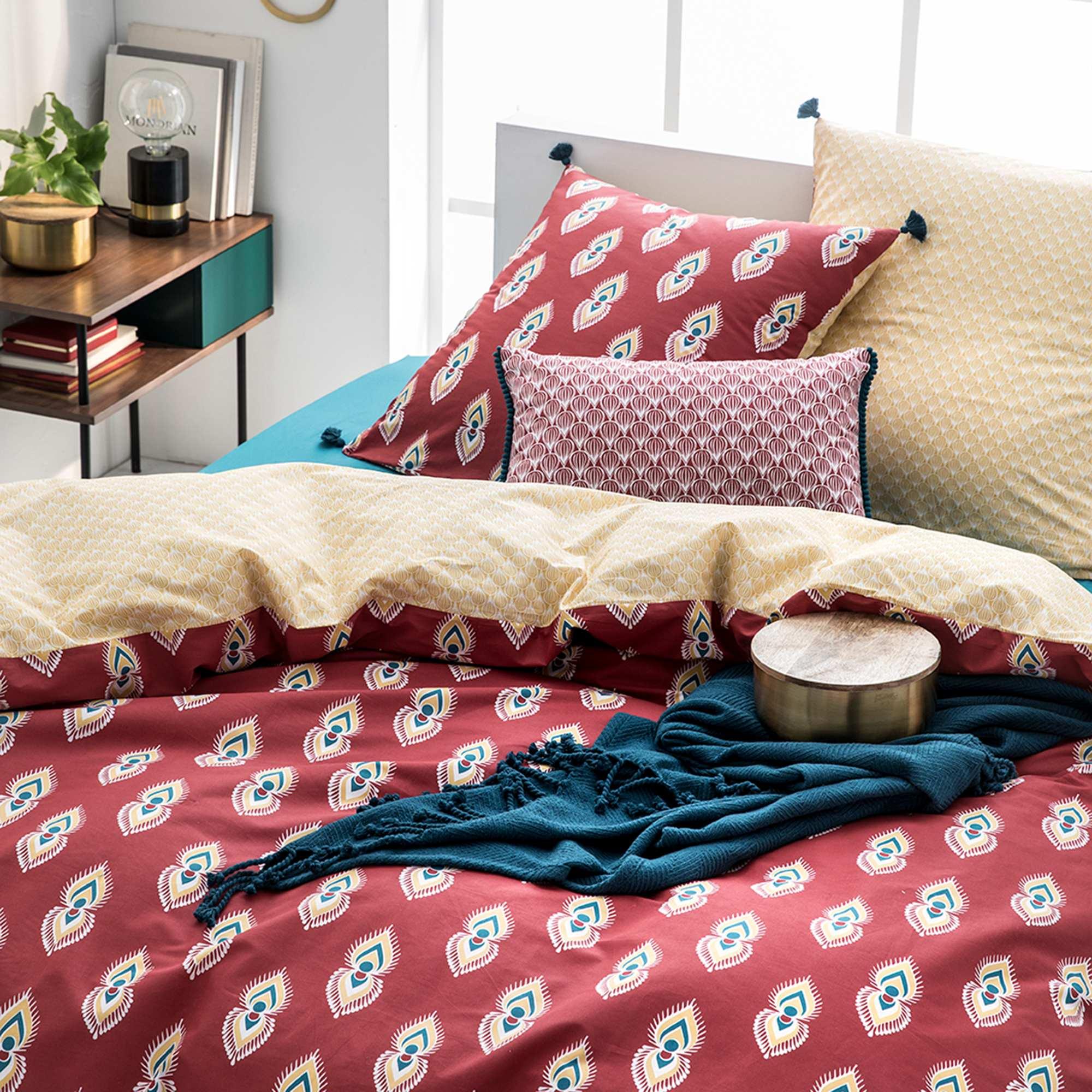 Parure de lit 2 personnes linge de lit rouge jaune - Parure de lit om 2 personnes ...
