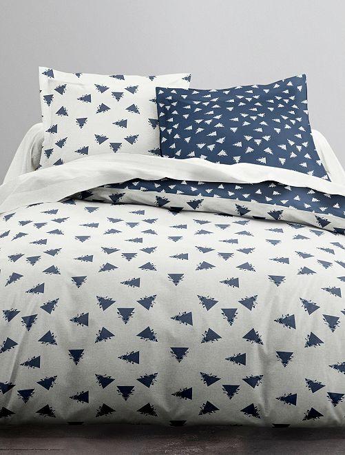 Parure de lit 2 personnes 'triangles'                             blanc/bleu