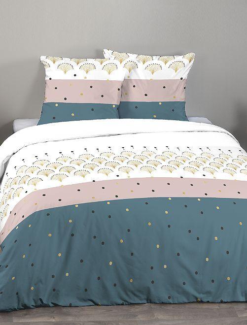 Parure de lit 2 personnes tricolore                             marine/blanc