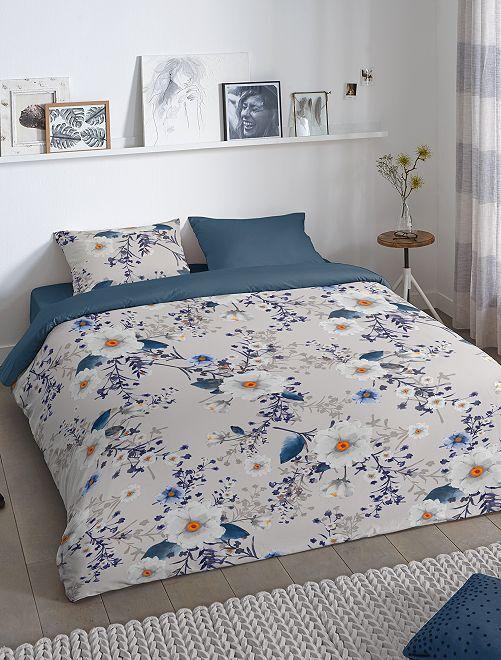 Parure de lit à fleurs réversible 2 personnes                             gris/marine
