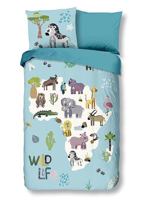 Parure de lit 'animaux' une place réversible                             bleu