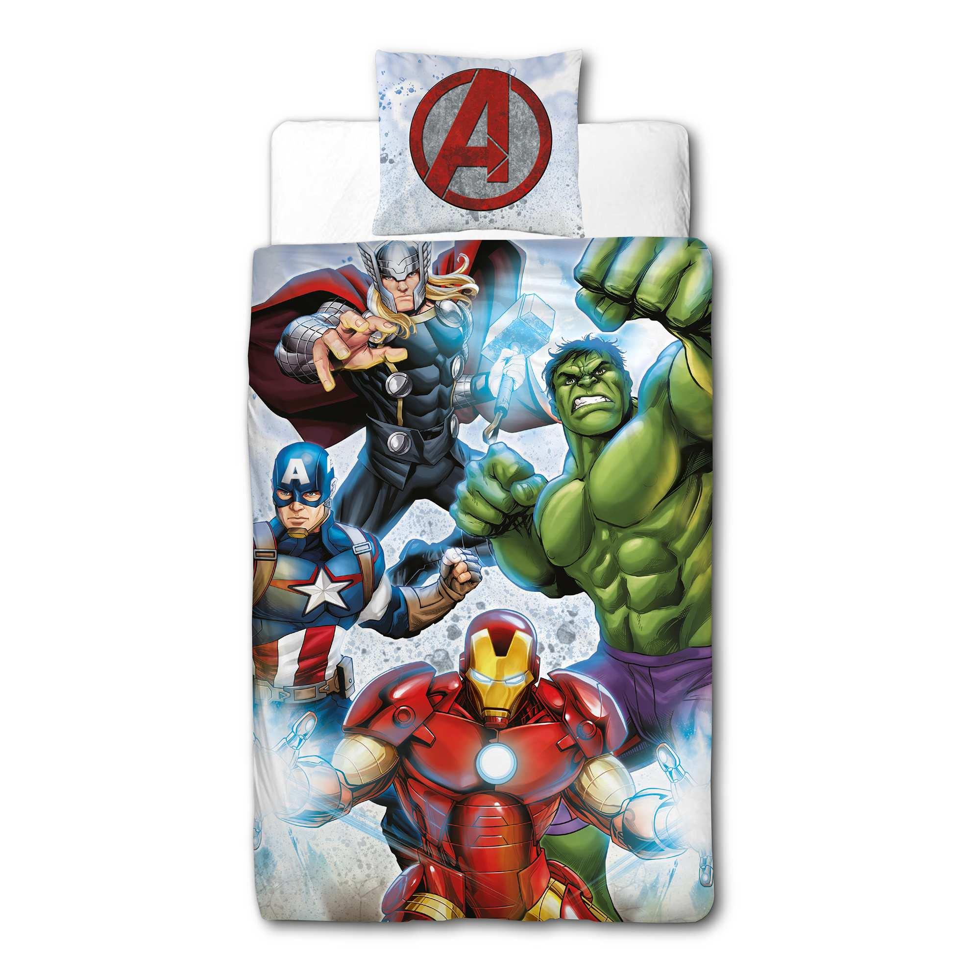 Couleur : multicolore, , ,, - Taille : 135X200, , ,,Rejoins la team 'Avengers' de 'Marvel' ! - Parure de lit en pur coton 'Avengers' de