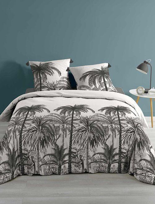 Parure de lit 'cocotiers' 2 personnes                             gris foncé