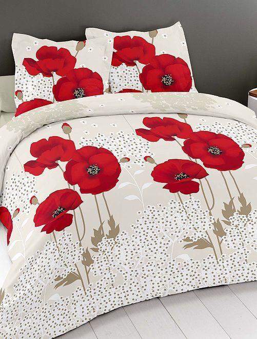 Parure de lit 'coquelicots'                             blanc / rouge Linge de lit