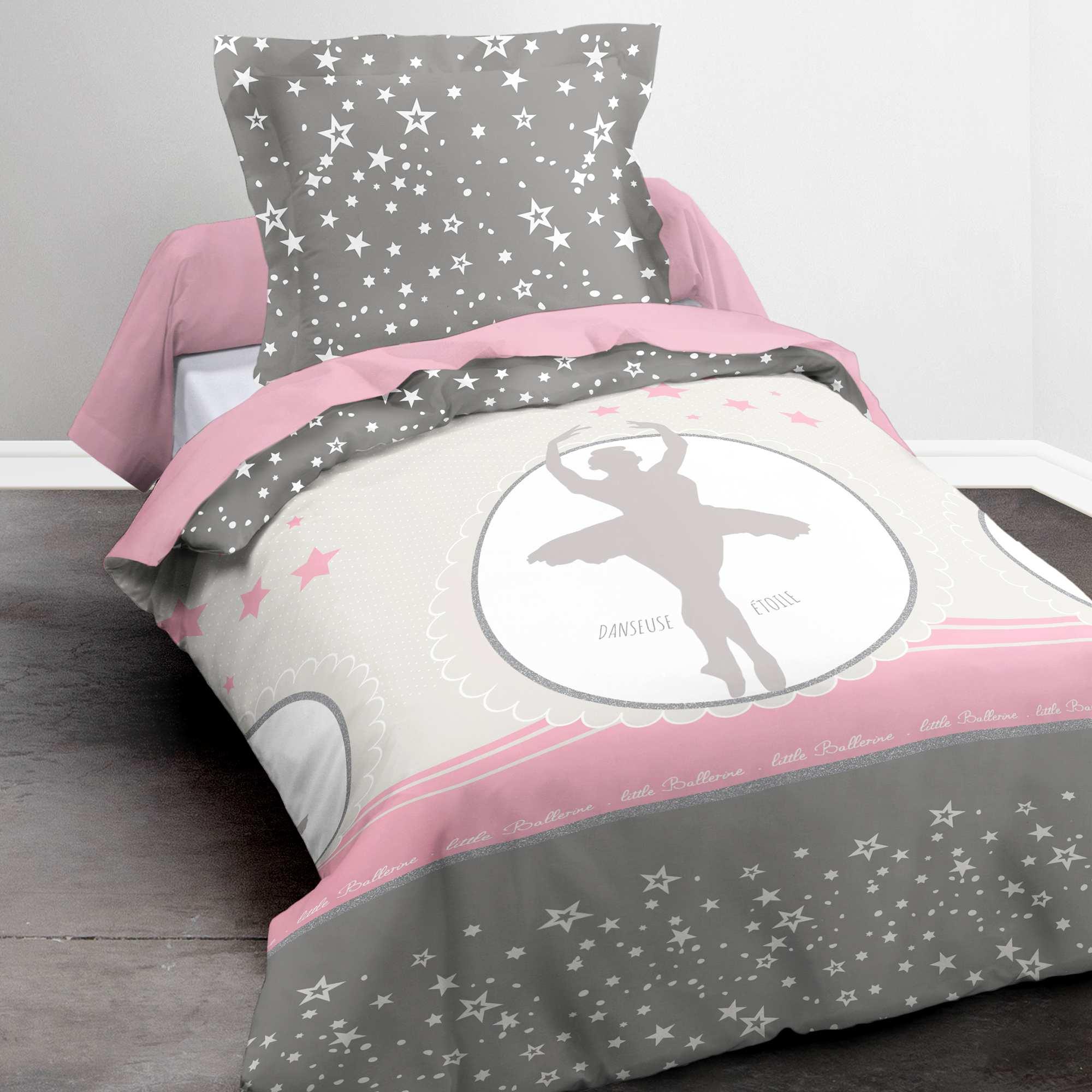 Couleur : gris/rose, , ,, - Taille : 140x200, , ,,Pour des nuits étoilées choisissez cette parure de lit ! - La parure comporte une