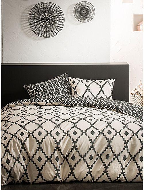Parure de lit deux personnes                             blanc/noir