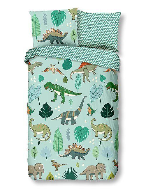 Parure de lit 'dinosaures' une place                             vert