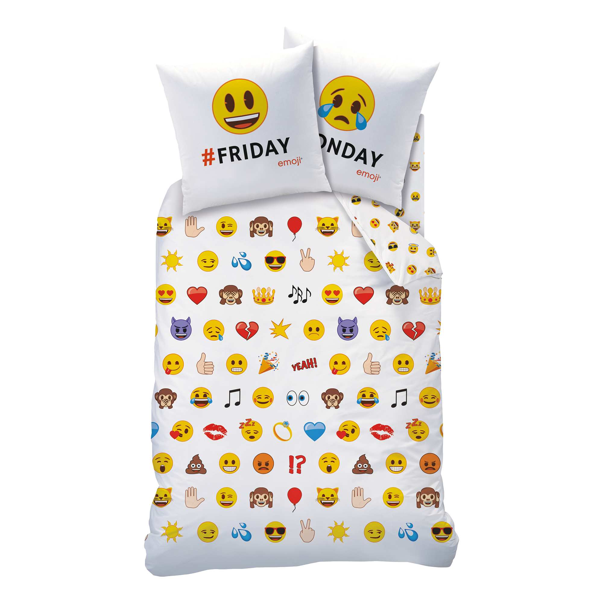 Couleur : blanc, , ,, - Taille : 140x200, , ,,Retrouves tout tes emoji préférés sur cette parure de lit ! - Parure de lit 1