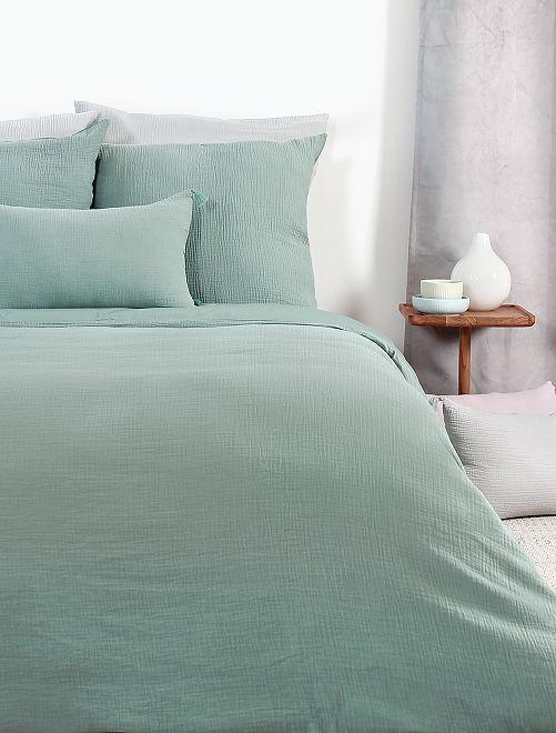 Parure de lit en gaze de coton 1 personne                             bleu amande