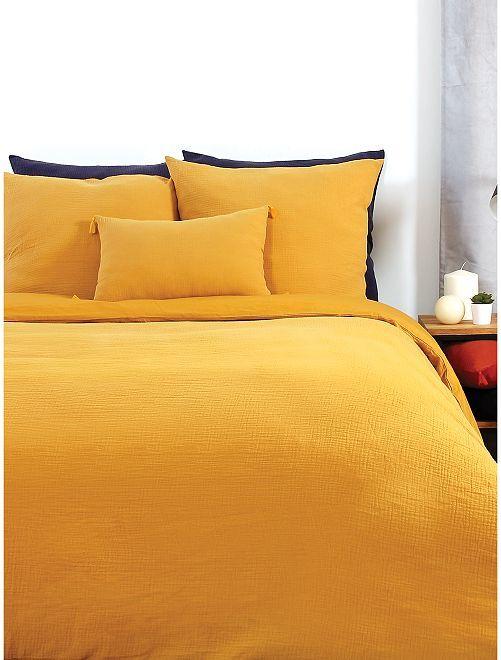 Parure de lit en gaze de coton                             jaune
