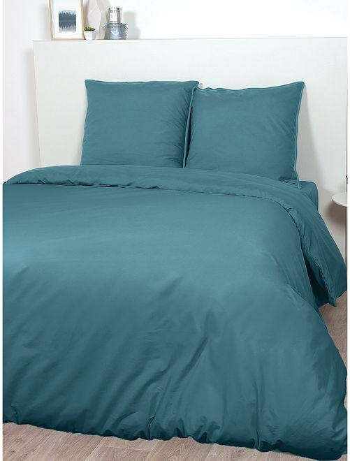 Parure de lit en satin de coton                                                                             bleu canard