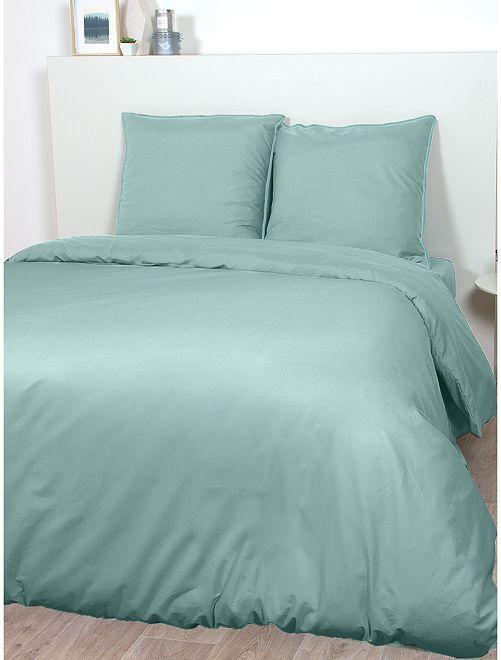 Parure de lit en satin de coton                                                                 bleu céladon