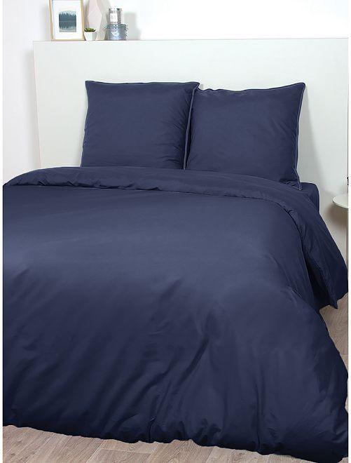 Parure de lit en satin de coton                                                                             bleu marine