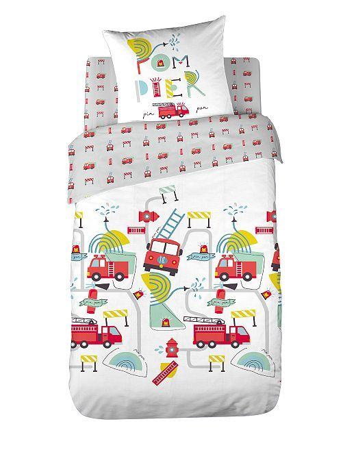 Parure de lit enfant 'Pompiers'                             blanc