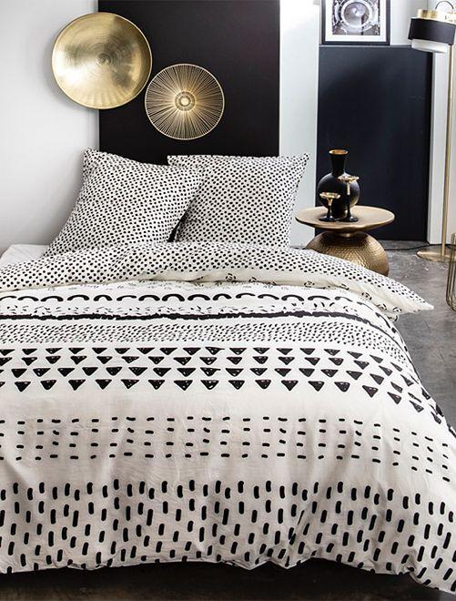 Parure de lit fantaisie                             blanc/noir
