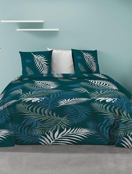 Parure de lit feuillage                             bleu/vert
