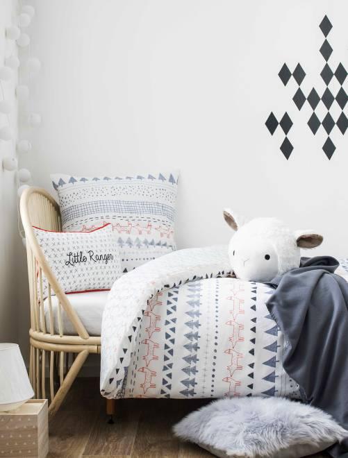 Parure de lit impression forêt blanc linge de lit