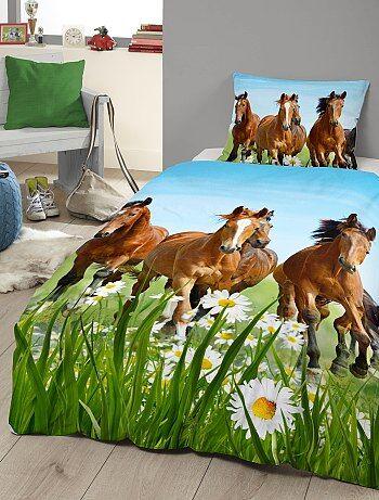 Parure de lit imprimé `chevaux`