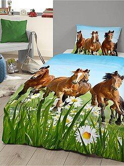 Linge de lit enfant - Parure de lit imprimé 'chevaux' - Kiabi