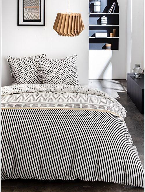 Parure de lit imprimé 'ethnique'                             blanc/noir