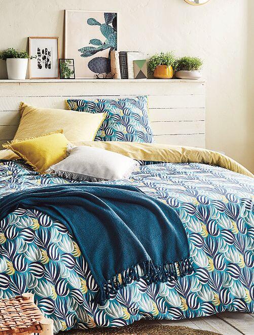 Parure de lit imprimé 'plantation'                             bleu/jaune