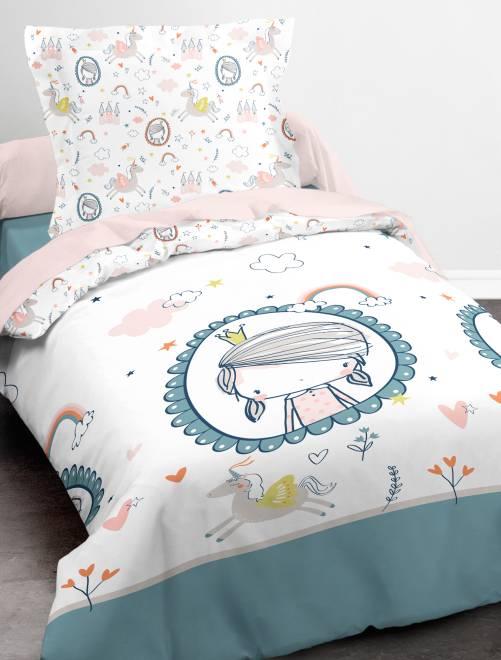 Parure de lit imprimé princesse et licorne blanc linge de lit