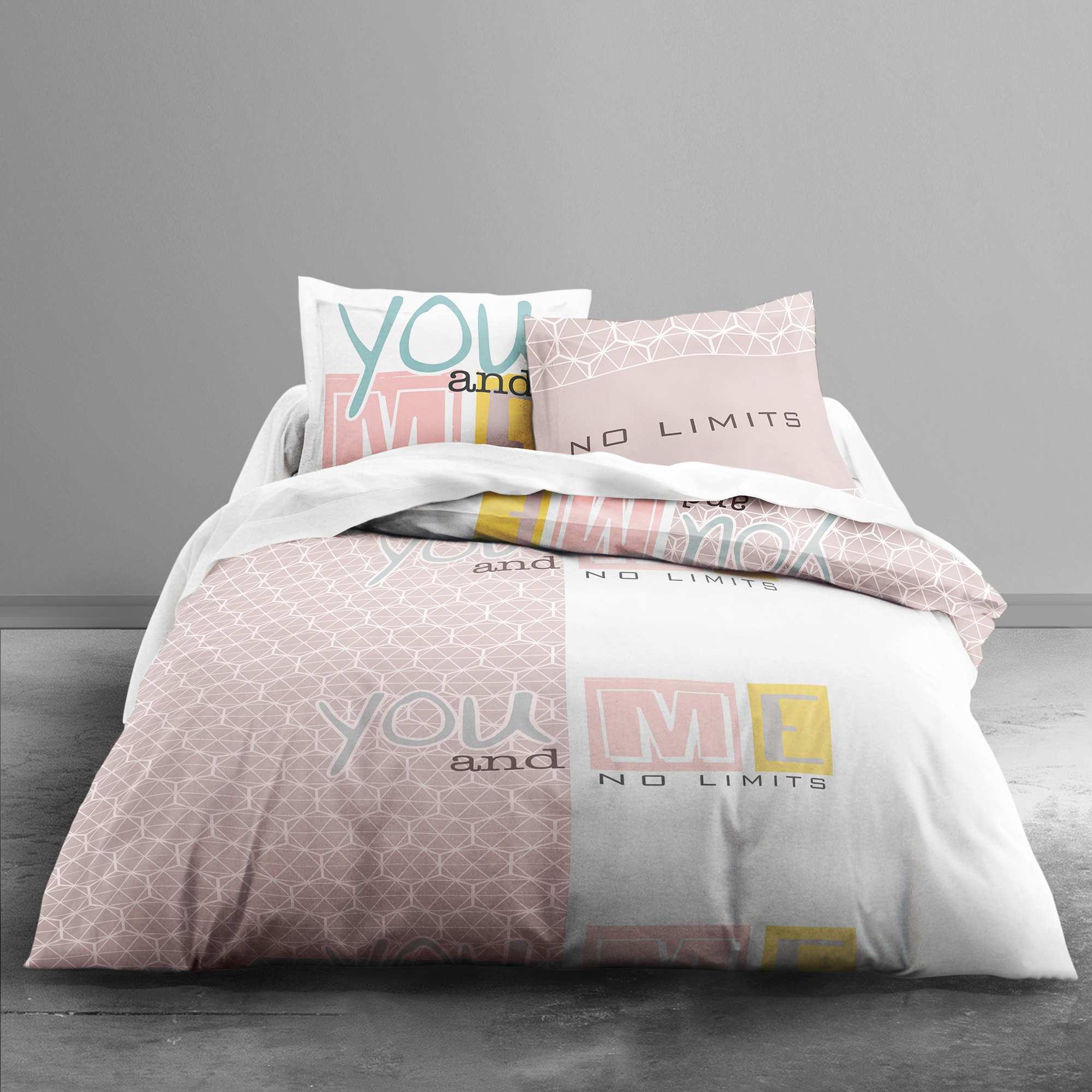 parure de lit imprim 39 you and me 39 beige linge de lit kiabi. Black Bedroom Furniture Sets. Home Design Ideas