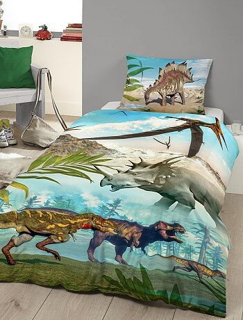parure de lit imprim e 39 dinosaures 39 linge de lit bleu vert kiabi 25 00. Black Bedroom Furniture Sets. Home Design Ideas