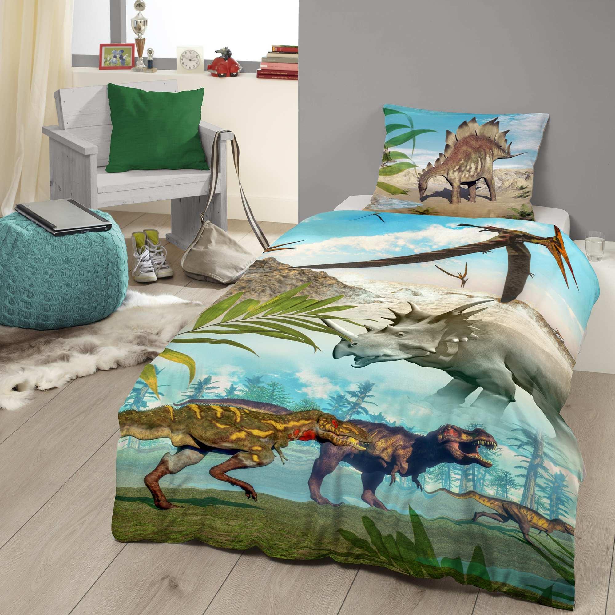 parure de lit imprim e 39 dinosaures 39 linge de lit bleu. Black Bedroom Furniture Sets. Home Design Ideas