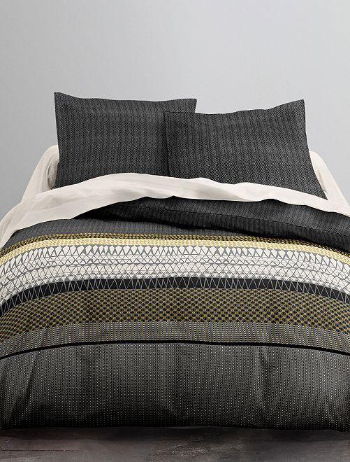 Parure de lit imprimée 'triangles ethniques'                             noir