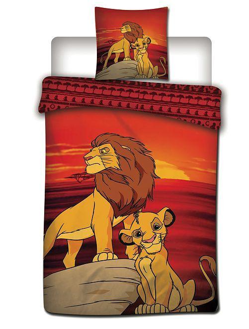 Parure de lit 'Le Roi Lion' 1 personne                             rouge/jaune