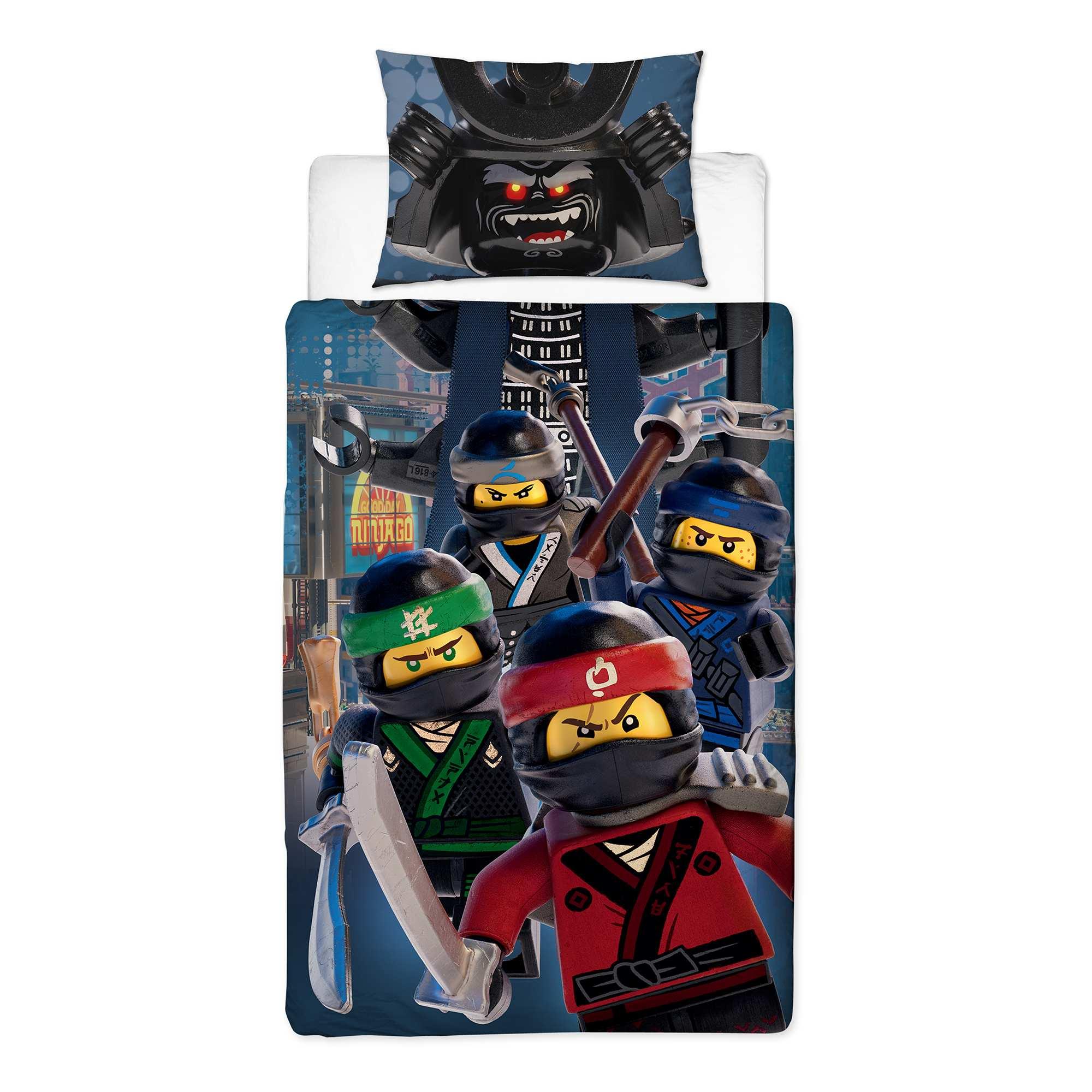 Couleur : bleu, , ,, - Taille : 135X200, , ,,Aussi silencieux qu'un ninja avec 'Lego' 'Ninjago' ! - Parure de lit 'Lego' 'Ninjago'