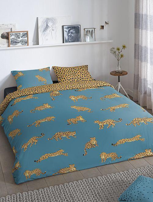 Parure de lit 'léopard' deux personnes                             bleu