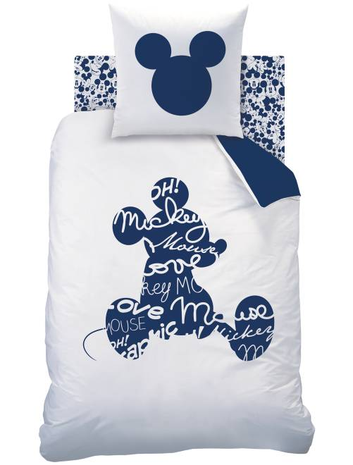 Parure de lit 'Mickey' réversible pour 1 personne                             blanc/bleu Linge de lit