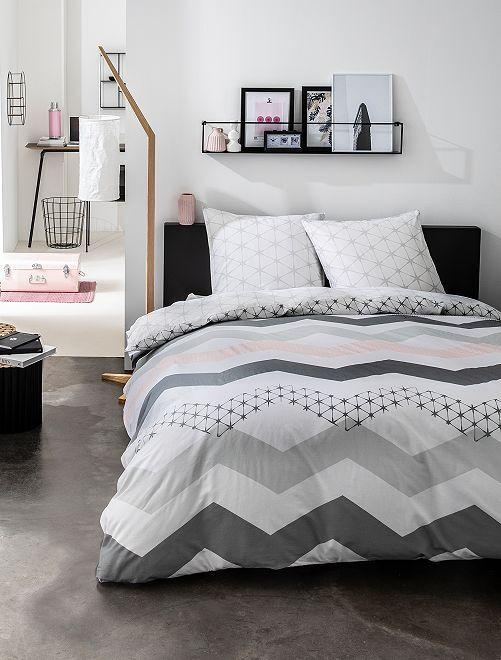 Parure de lit motifs 'géométriques'                             blanc/rose Linge de lit
