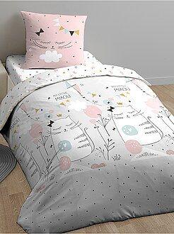 Linge de lit enfant - Parure de lit 'My Little Miaou' - Kiabi