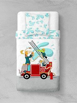 Linge de lit enfant - Parure de lit 'Pompiers animaux' - Kiabi