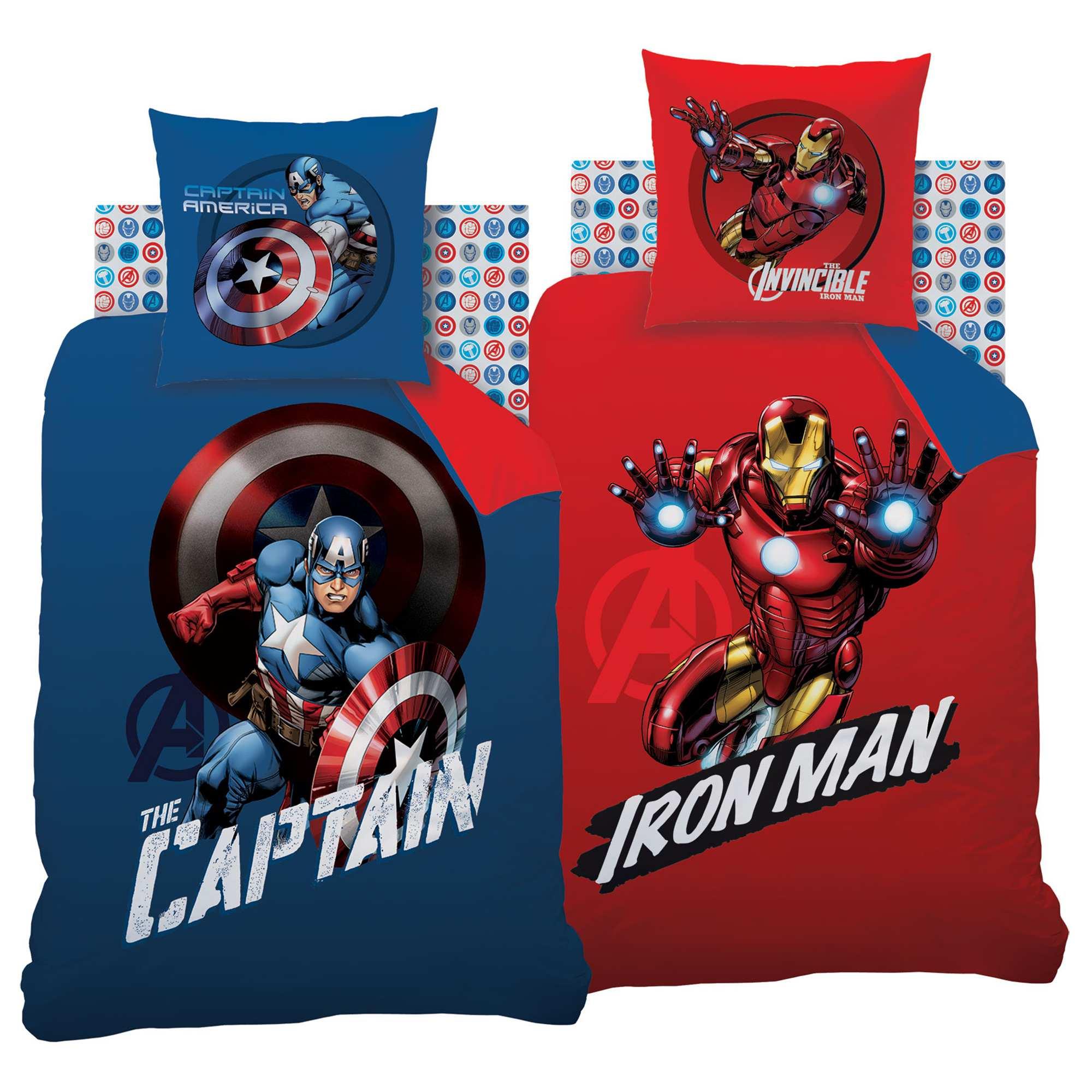 parure de lit r versible en coton avengers linge de lit bleu rouge kiabi 35 00. Black Bedroom Furniture Sets. Home Design Ideas
