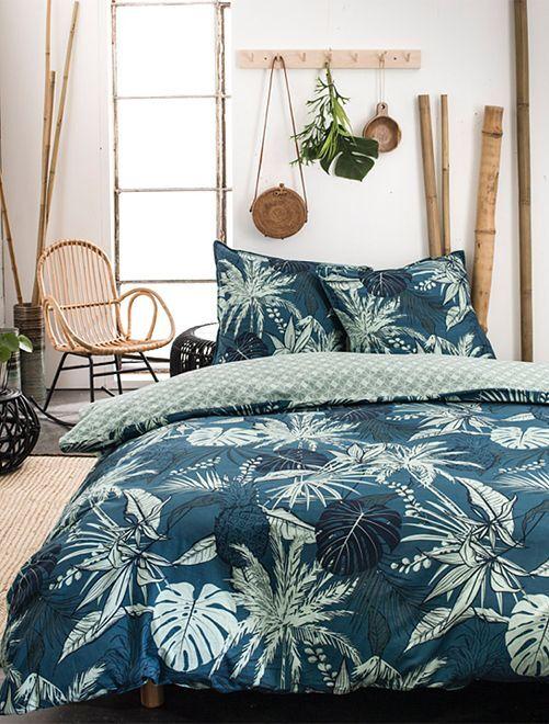 Parure de lit réversible 'feuillage'                             bleu