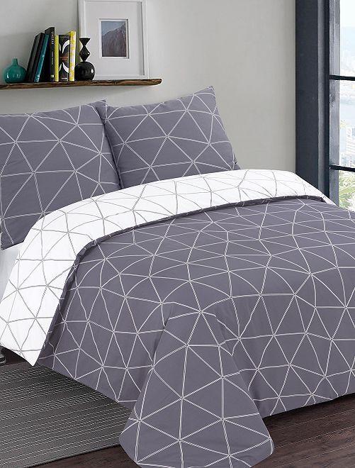 Parure de lit réversible 'géométrique'                             blanc/gris