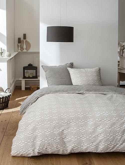 Parure de lit réversible géométrique                             blanc/gris